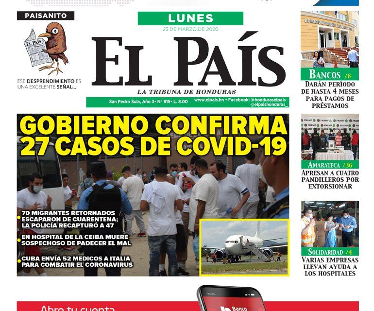 Gobierno confirma 27 casos de COVID-19