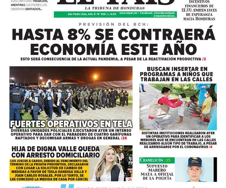 PREVISIÓN DEL BCH: HASTA 8% SE CONTRAERÁ ECONOMÍA ESTE AÑO