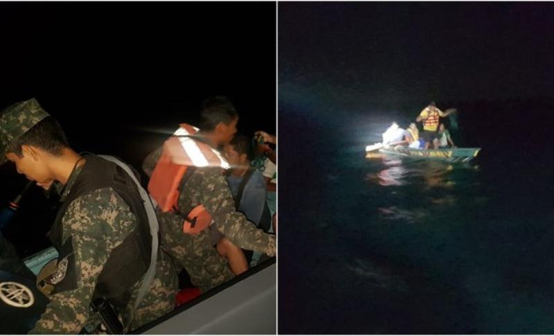 Fuerza Naval de Honduras rescata cinco náufragos en la Bahía de Trujillo